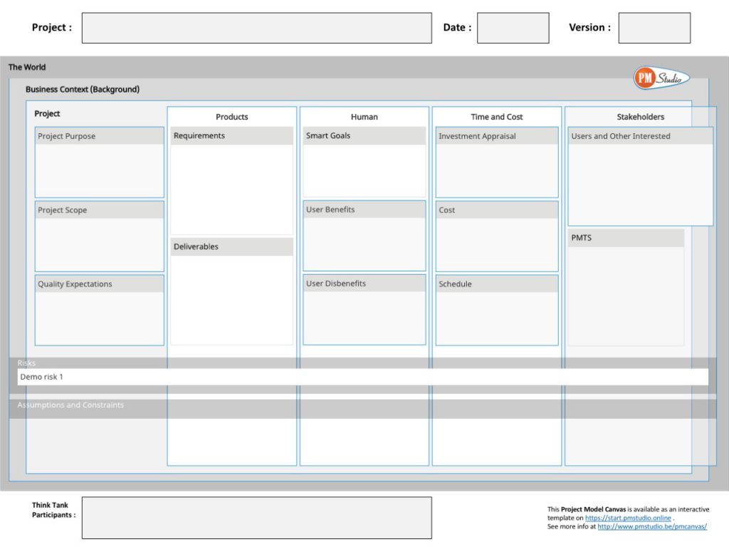 Project Model Canvas (PM Studio)